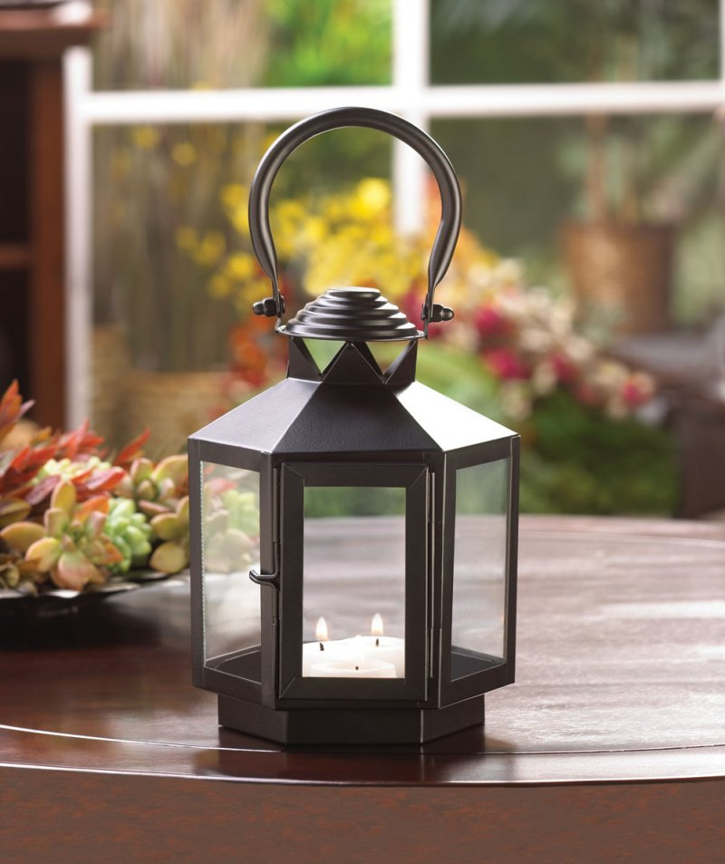 Image 0 of Black Hexagon Carriage Candle Lantern with Oversized Handle Use Indoor/Outdoor