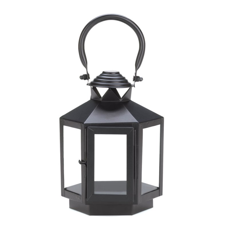 Image 1 of Black Hexagon Carriage Candle Lantern with Oversized Handle Use Indoor/Outdoor