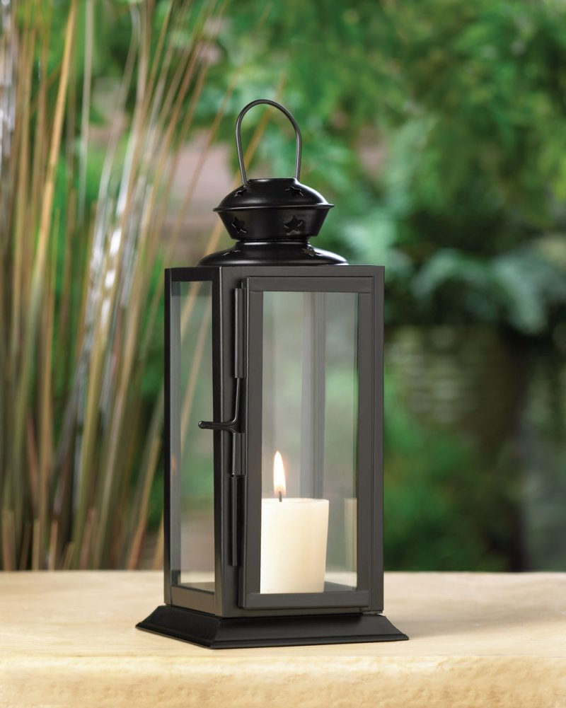 Black Rectangular Starlight Candle Lantern Star Cutouts at Top Use Indoor or Out