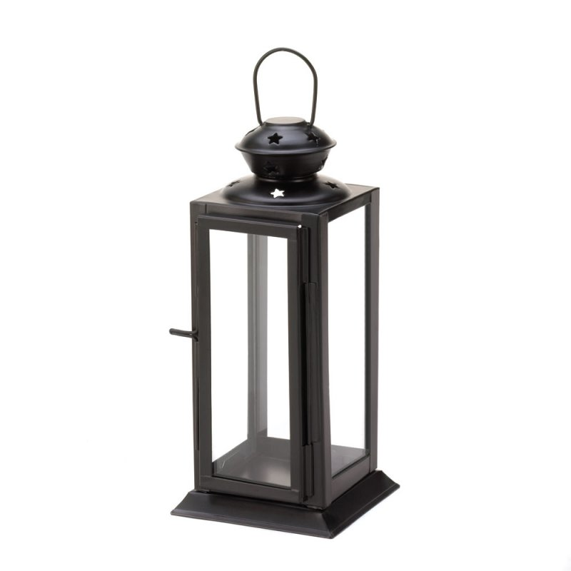 Image 1 of Black Rectangular Starlight Candle Lantern Star Cutouts at Top Use Indoor or Out