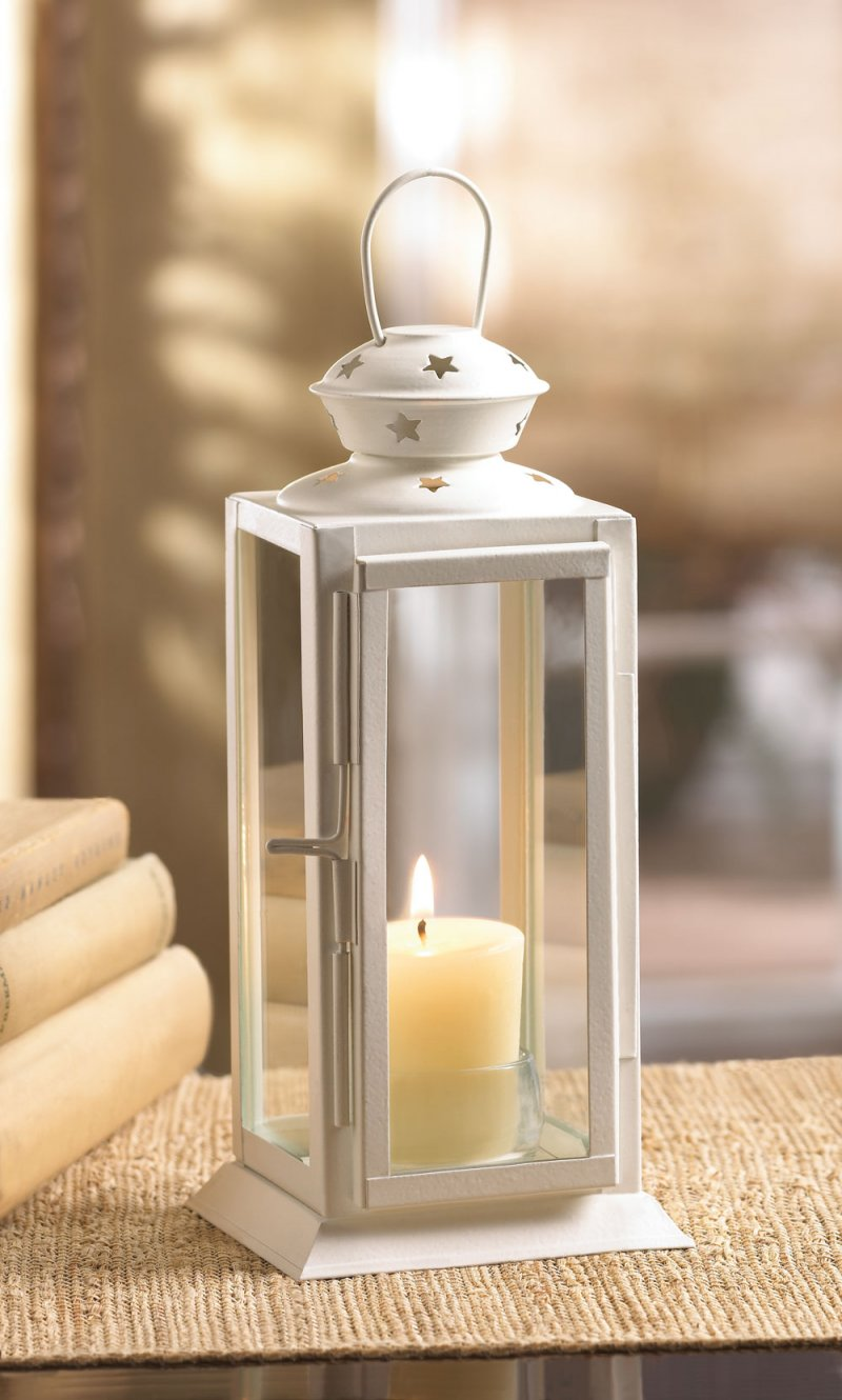 Image 0 of White Rectangular Starlight Candle Lantern Star Cutouts at Top Use Indoor or Out