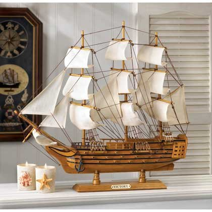 HMS Victory Schooner Ship Model Wood & Canvas Nautical Decor