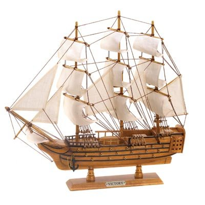Image 1 of HMS Victory Schooner Ship Model Wood & Canvas Nautical Decor