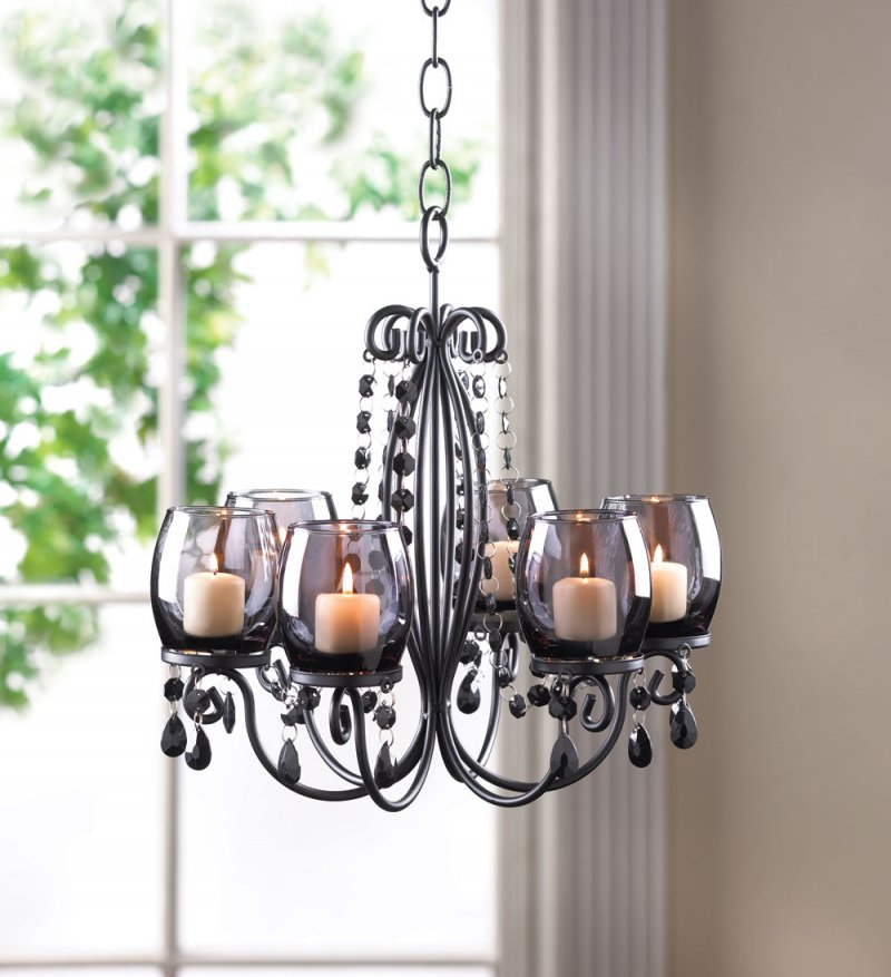 Image 0 of Midnight Elegance Hanging or Tabletop Candle Chandelier Tinted Glass Cups, Beads