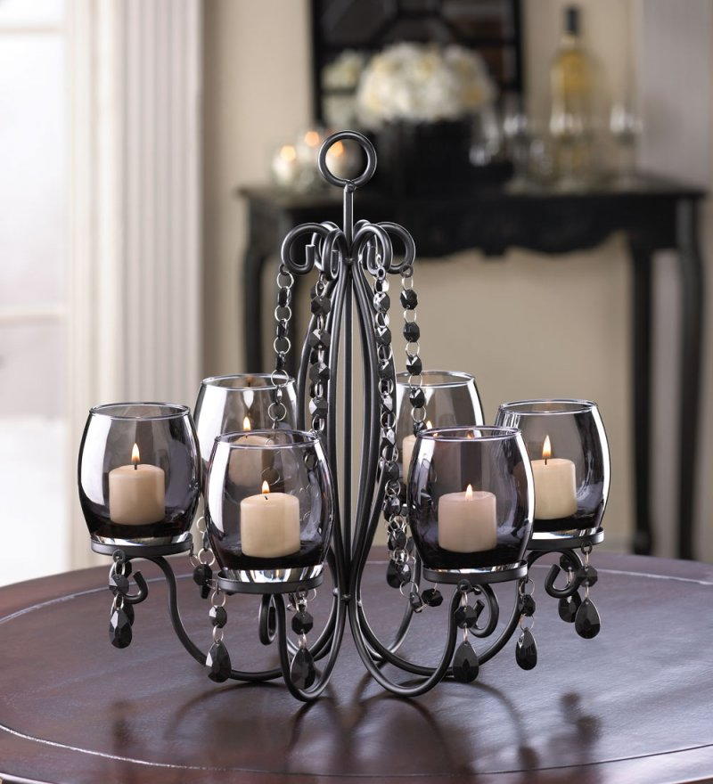 Image 1 of Midnight Elegance Hanging or Tabletop Candle Chandelier Tinted Glass Cups, Beads
