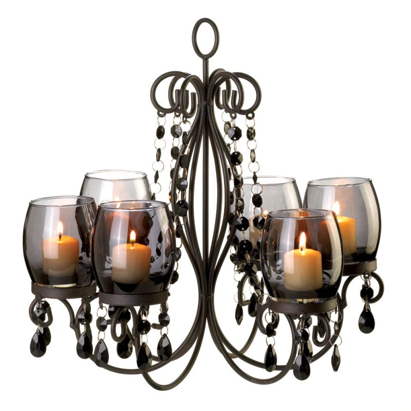 Image 2 of Midnight Elegance Hanging or Tabletop Candle Chandelier Tinted Glass Cups, Beads