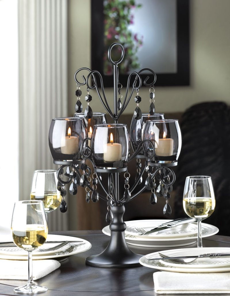 Midnight Elegance Candle Candelabra w/ Tinted Glass Cups, Beads Centerpiece