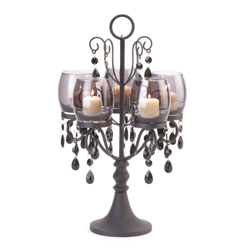 Image 1 of Midnight Elegance Candle Candelabra w/ Tinted Glass Cups, Beads Centerpiece