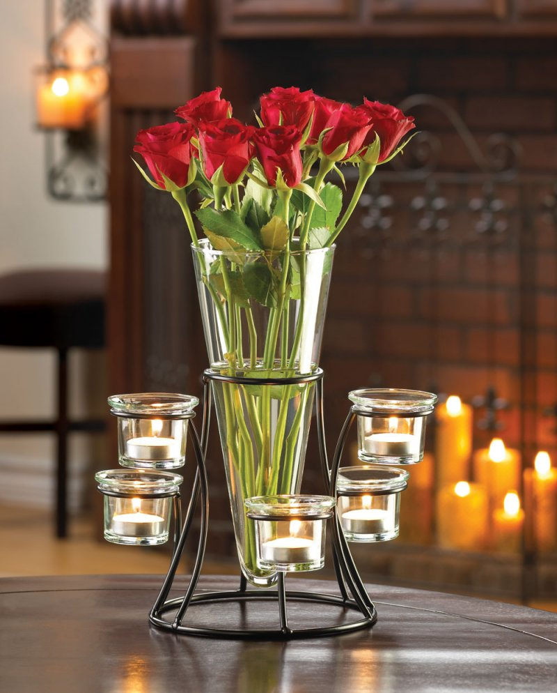Elegant Centerpiece Circular Candle Stand with 6 Glass Cups Vase in Center