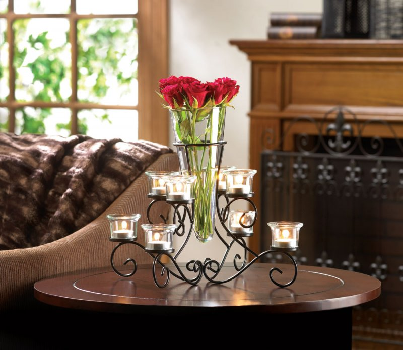 Image 0 of Stunning Scrollwork Candle Stand with 8 Glass Cups Vase in Center Centerpiece