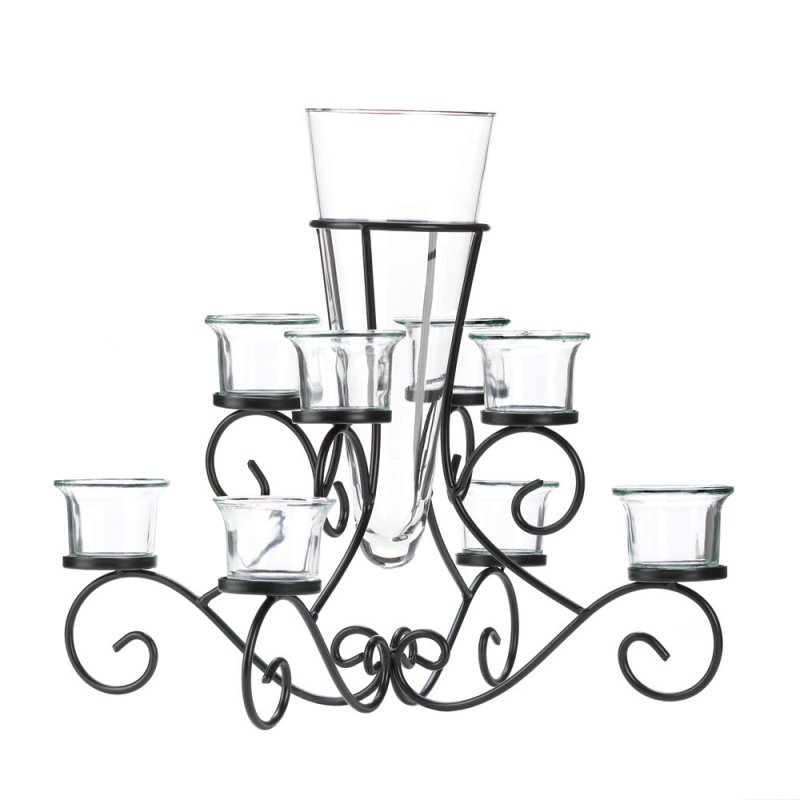 Image 1 of Stunning Scrollwork Candle Stand with 8 Glass Cups Vase in Center Centerpiece