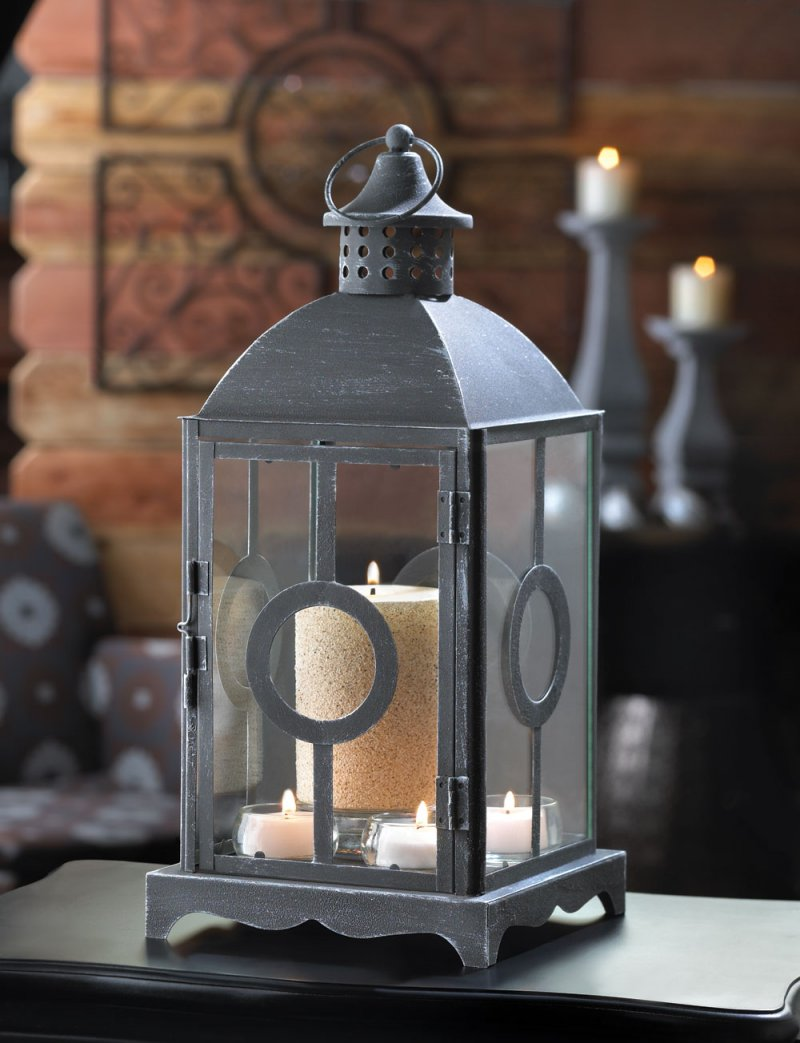 Antiqued Pewter Like Finish Circlet Candle Lantern w/ Cupola on Top Centerpiece