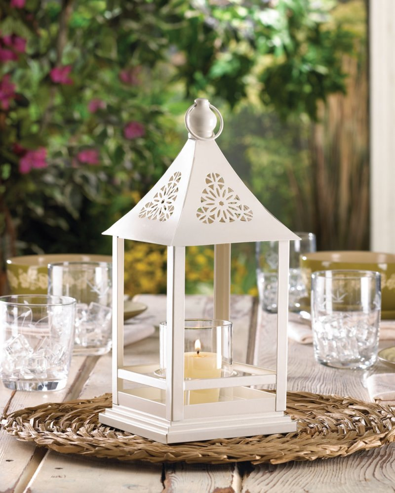 Image 0 of White Belfort Candle Lantern with Floral Cutouts at Top Wedding Centerpieces