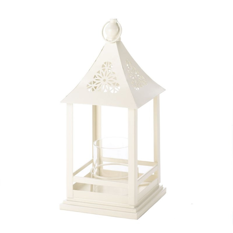 Image 1 of White Belfort Candle Lantern with Floral Cutouts at Top Wedding Centerpieces