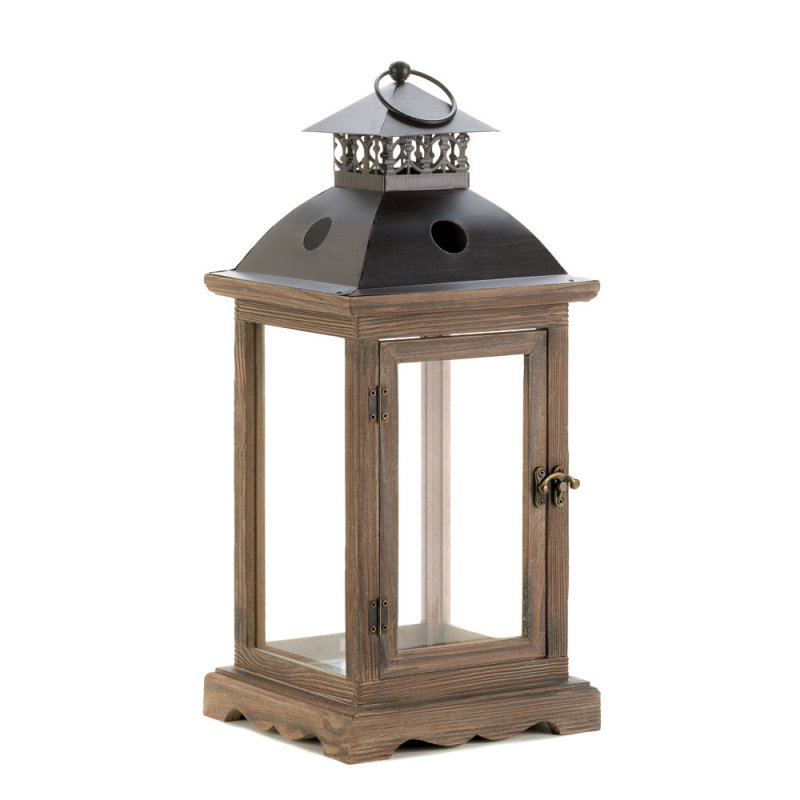 Large Monticello Antiqued Wood Frame Pillar Candle Lantern Iron Black Top