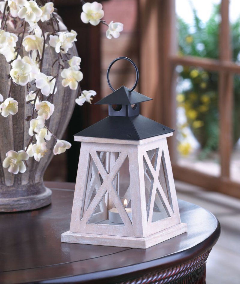 Colonial Height Candle Lantern Antiqued White Wood Frame Iron Black Top,