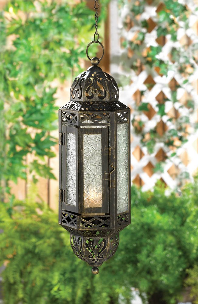 Black Victorian Hanging Cable Lantern w/ Pressed Glass Use Indoors or Outdoor