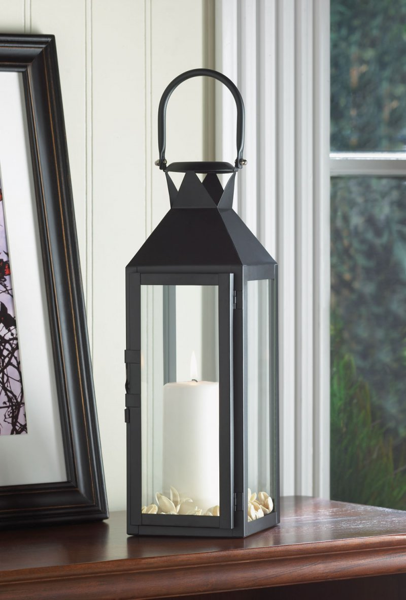 Black Contemporary Manhattan Pillar Candle Lantern Use Indoor or Outdoor