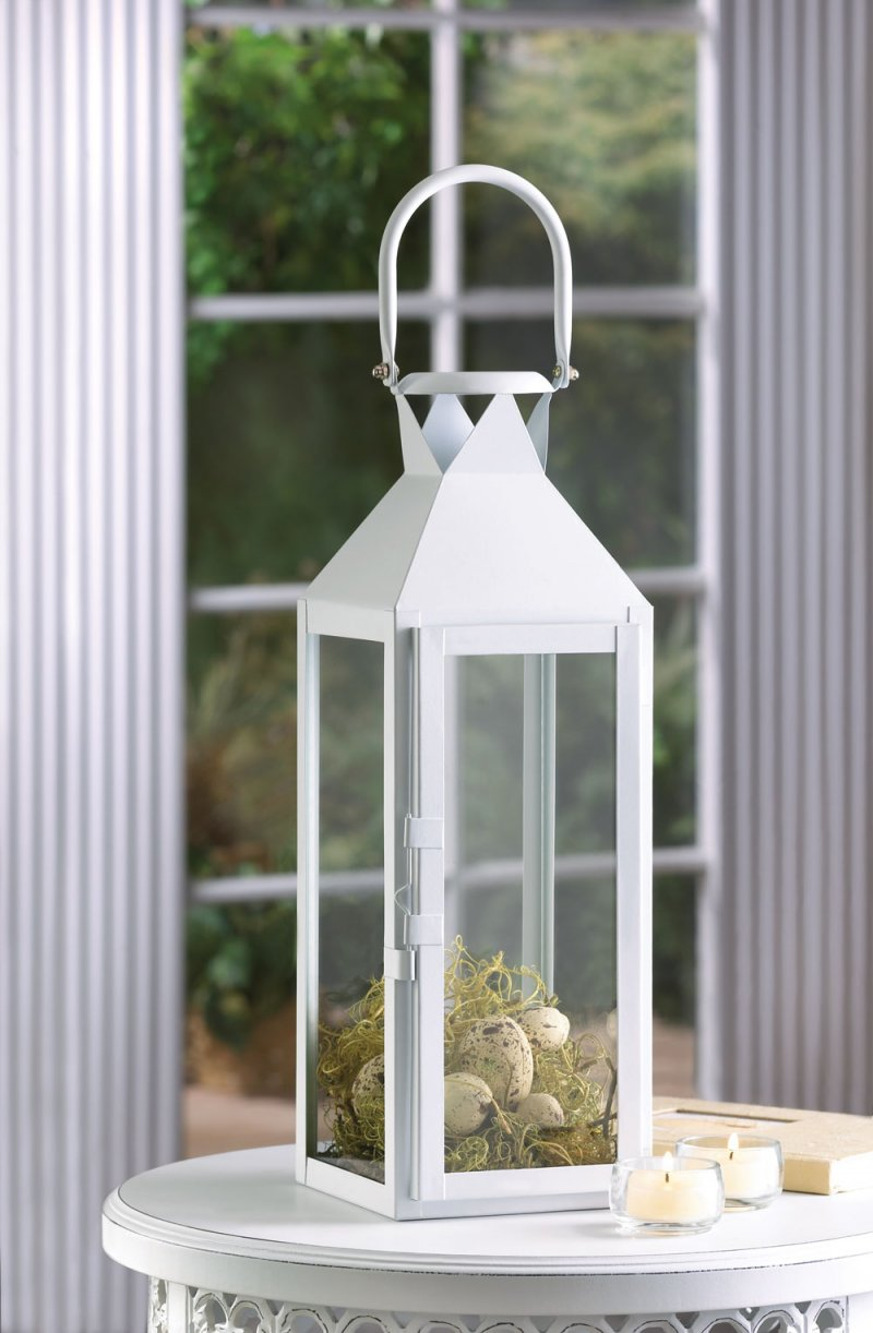 Image 0 of White Contemporary Manhattan Cable Pillar Candle Lantern Use Indoor or Outdoor