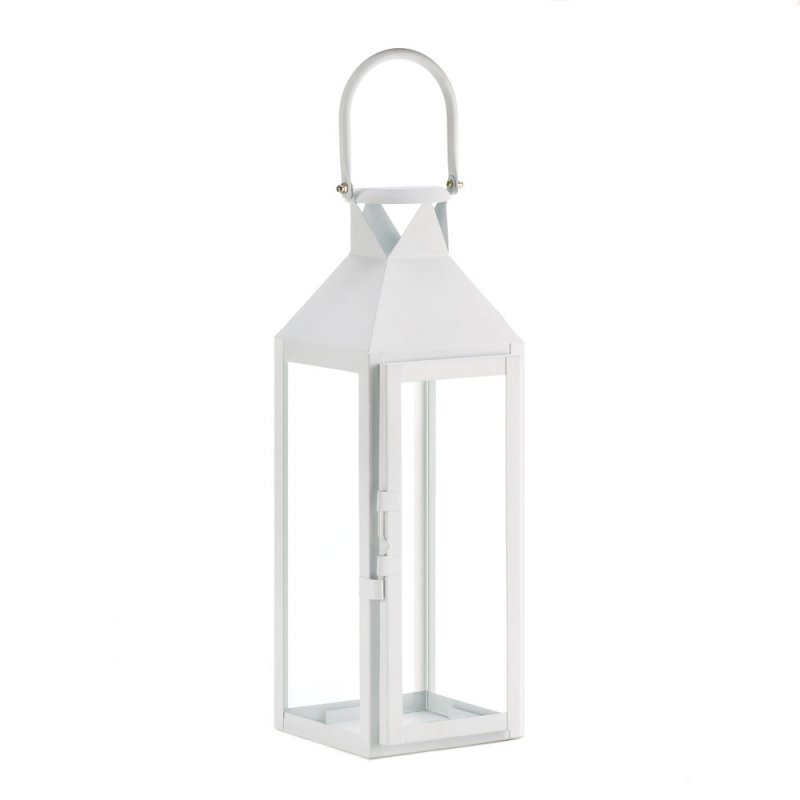 Image 1 of White Contemporary Manhattan Cable Pillar Candle Lantern Use Indoor or Outdoor