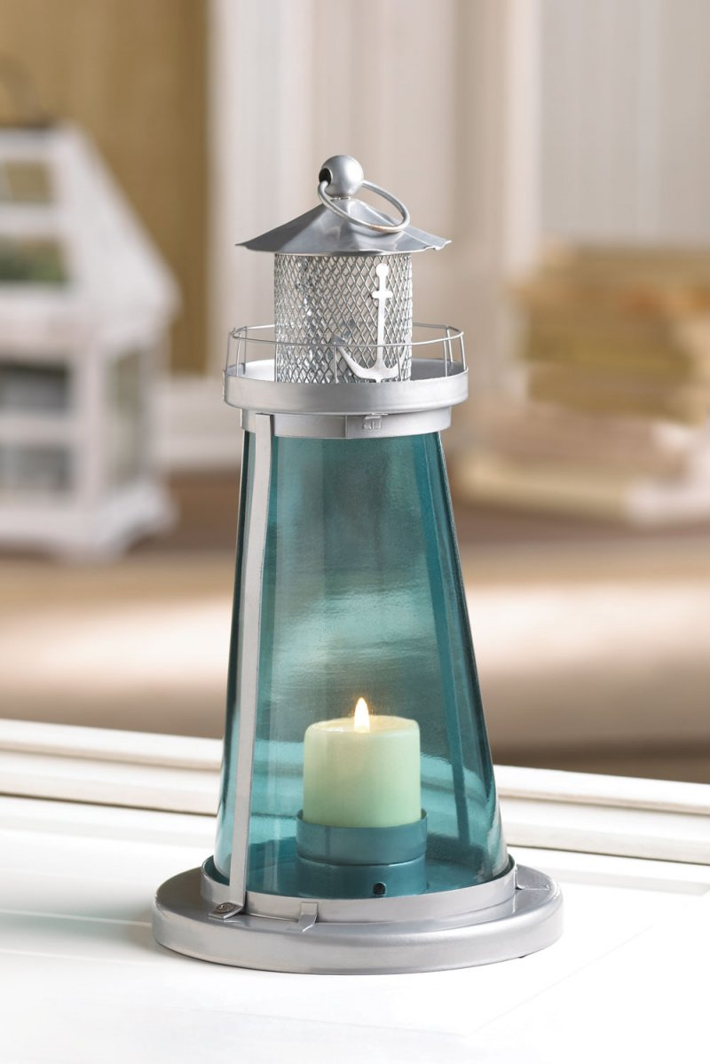 Image 2 of Blue Glass Watch Tower Lighthouse Candle Lantern Nautical Decor