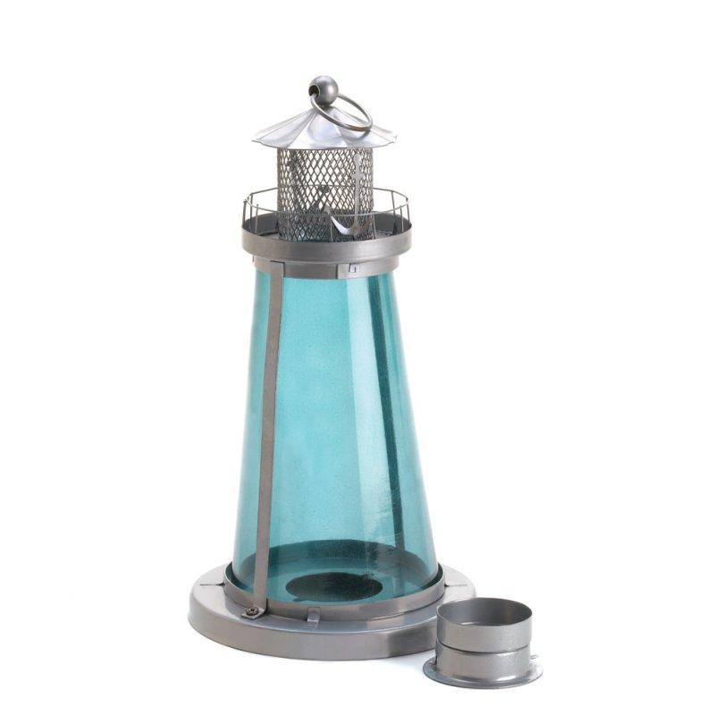Blue Glass Watch Tower Lighthouse Candle Lantern Nautical Decor