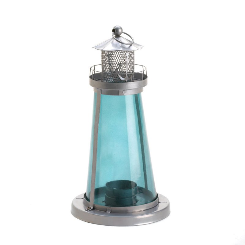 Image 1 of Blue Glass Watch Tower Lighthouse Candle Lantern Nautical Decor