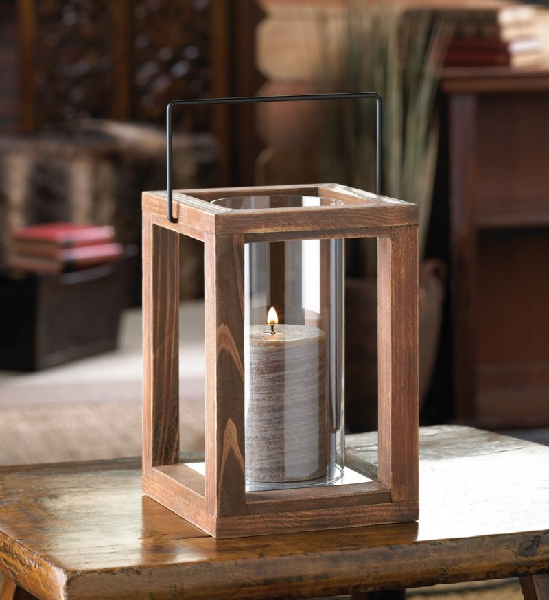 Rustic Country Stained Wood Garden Pillar Candle Lantern Use Indoors Or  Outdoors
