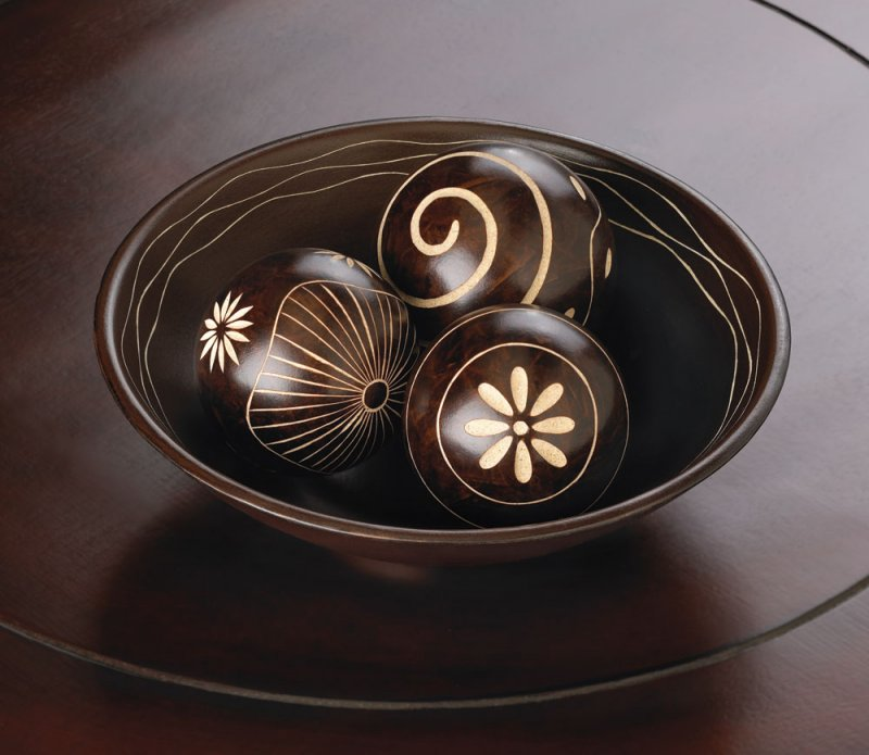 Set of 3 Chocolate Brown Decorative Umber Balls in Bowl with Interior Carving