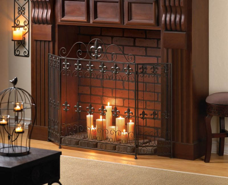 French Revival Fleur de Lis Fireplace Screen Wrought Iron