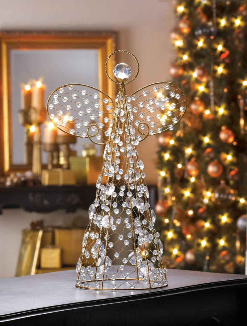 Golden Crystalline Beaded Christmas Angel Tree Topper or Tabletop Figurine