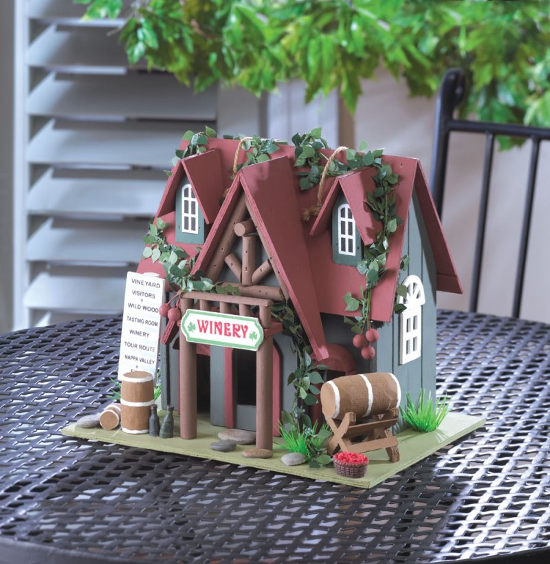 Quaint Cottage Winery Decorative, Functional Birdhouse w/ Ivy and Wine Barrels