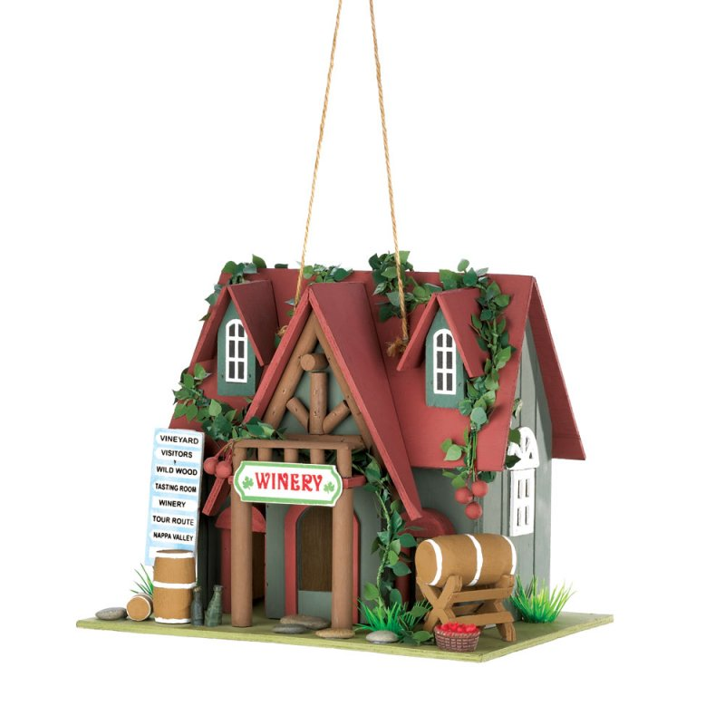 Image 1 of Quaint Cottage Winery Decorative, Functional Birdhouse w/ Ivy and Wine Barrels
