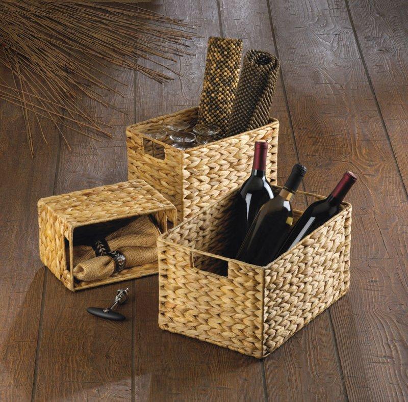 Image 0 of Set of 3 Rectangular Woven Nesting Baskets for Magazines, Bath, Kitchen