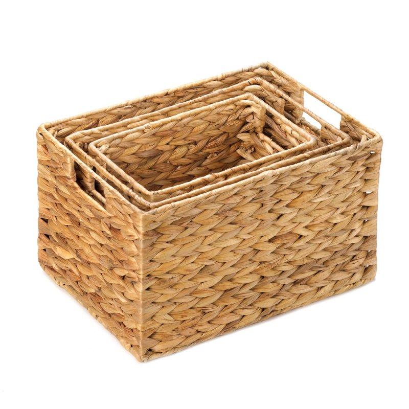 Image 1 of Set of 3 Rectangular Woven Nesting Baskets for Magazines, Bath, Kitchen