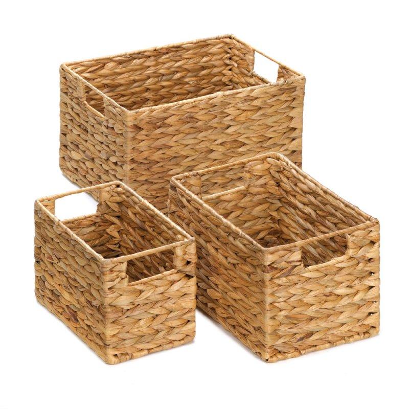 Image 2 of Set of 3 Rectangular Woven Nesting Baskets for Magazines, Bath, Kitchen