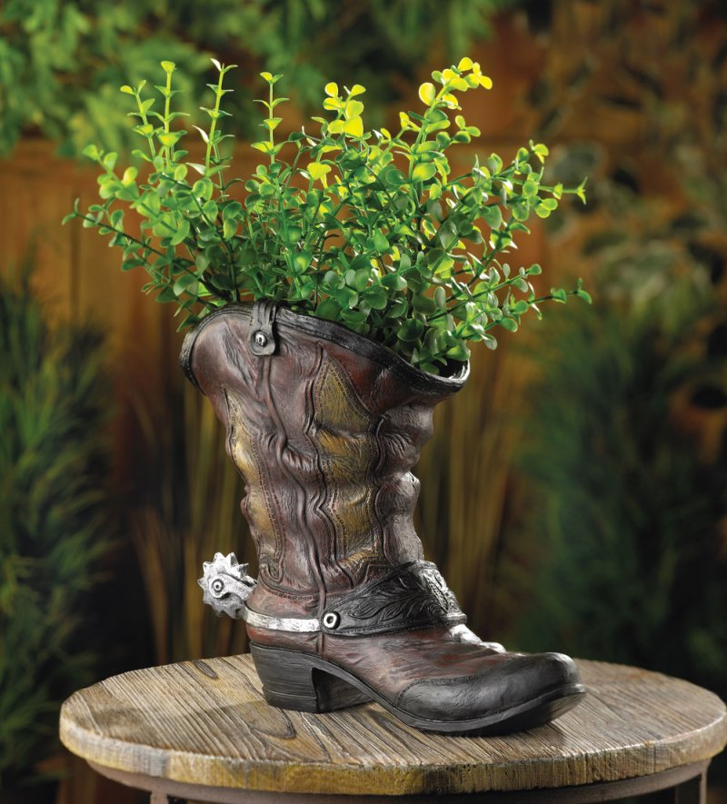 Image 0 of Worn Cowboy Boot Planter with Spurs Drain Hole in Bottom