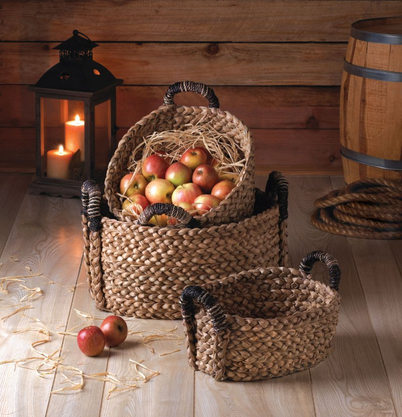Image 0 of Set of 3 Oval Cattail Straw Rustic Woven Nesting Baskets for Bath, Kitchen