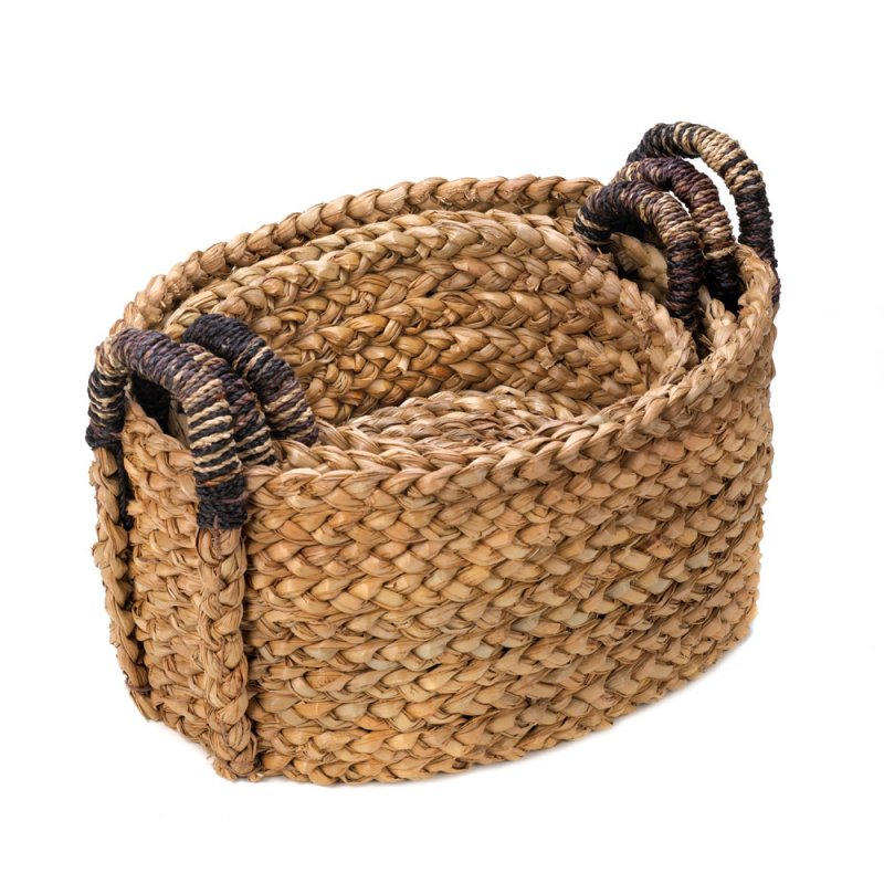 Image 1 of Set of 3 Oval Cattail Straw Rustic Woven Nesting Baskets for Bath, Kitchen