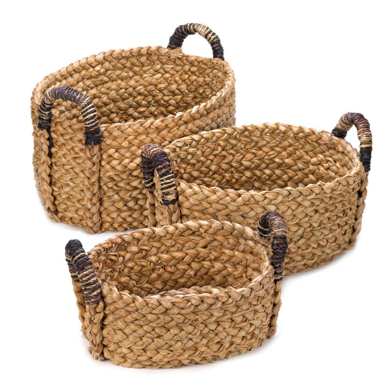 Traditional Small Wicker Basket With Liner&handle : Set of oval cattail straw rustic woven nesting baskets