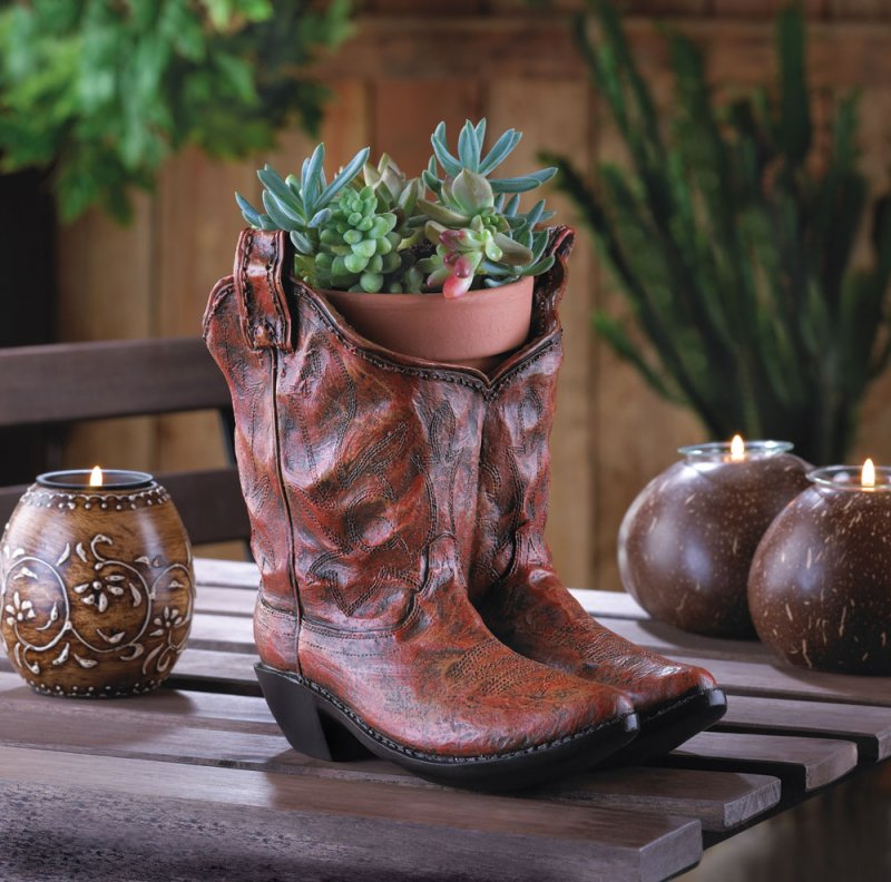 Image 0 of Western Kicks Cowboy Boots Planter with Drain Hole at Bottom