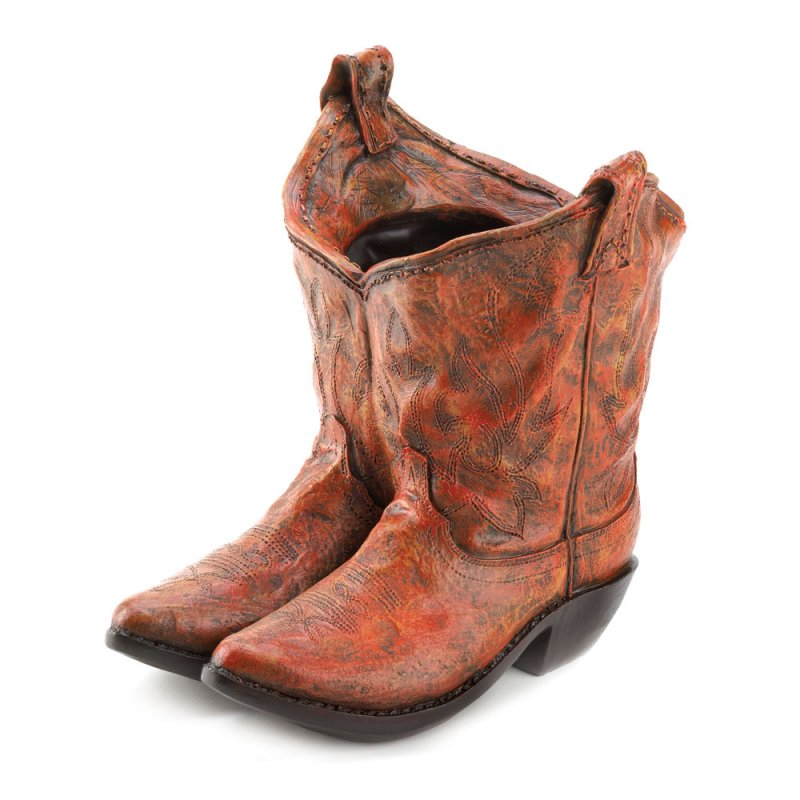 Image 1 of Western Kicks Cowboy Boots Planter with Drain Hole at Bottom