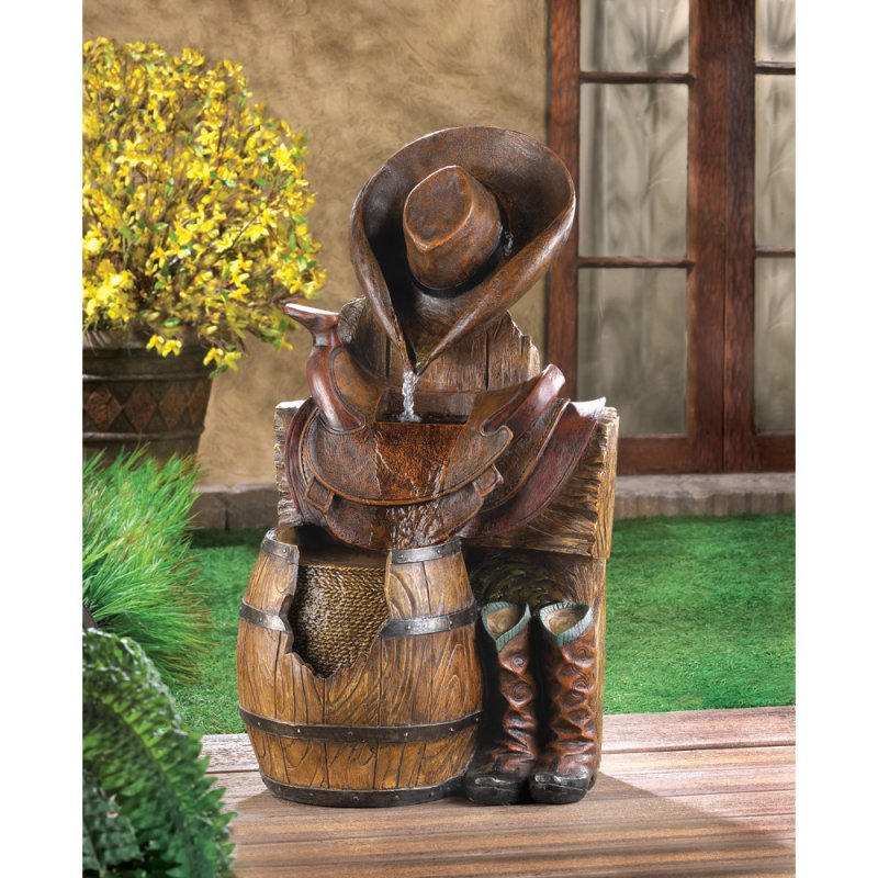 Image 0 of Wild West Hat, Saddle, Barrel and Boots Garden Fountain Western Garden Decor