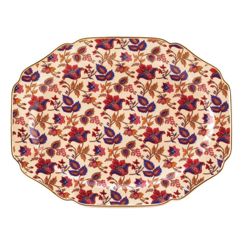 Image 1 of Jaipur Cream, Garnet and Sapphire Floral Ceramic Serving Platter Tray Gold Trim