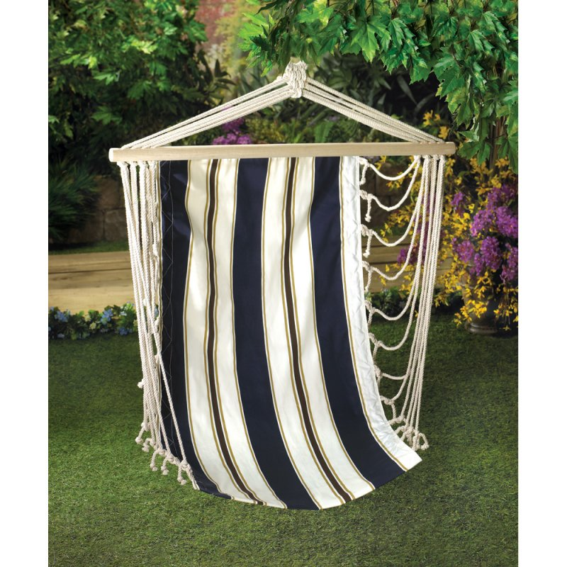 Navy Blue and Tan Striped Hanging Hammock Swing Chair Patio Lawn Furniture