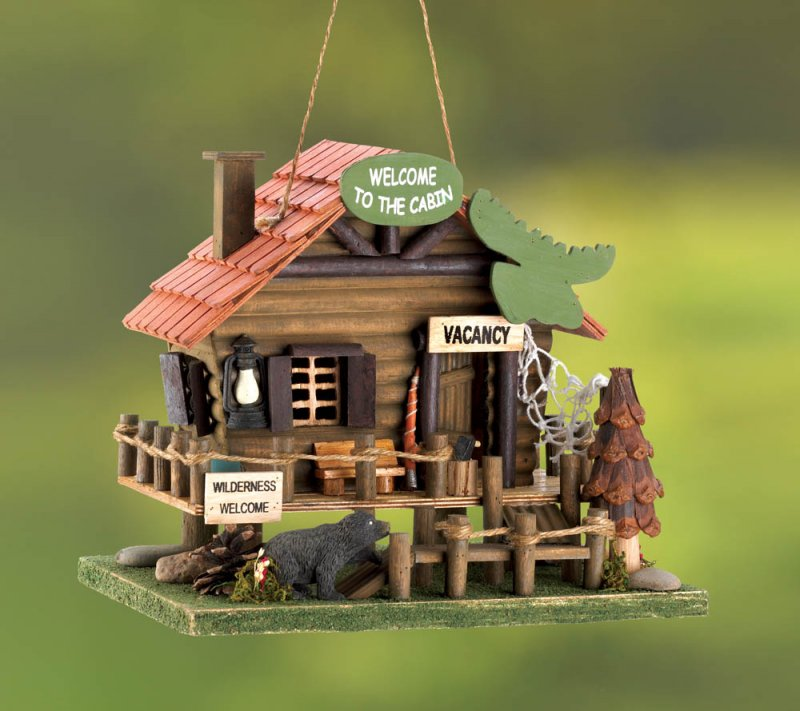 Rustic Woodland Log Cabin Birdhouse with Moose Head Sign, Black Bear, Rope Fence