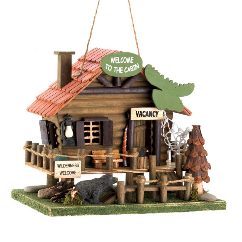 Image 1 of Rustic Woodland Log Cabin Birdhouse with Moose Head Sign, Black Bear, Rope Fence