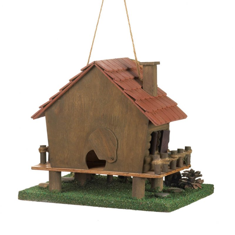 Image 2 of Rustic Woodland Log Cabin Birdhouse with Moose Head Sign, Black Bear, Rope Fence