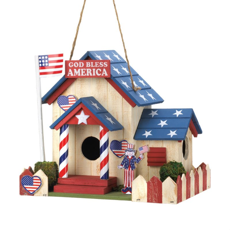 Image 0 of Americana Patriot Birdhouse with American Flag, Uncle Sam Red & White Fence