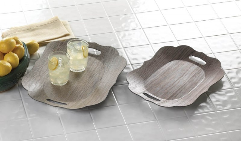 Image 0 of Set of 2 Contemporary Faux Wood Grain Scallop Edge Decorative Trays